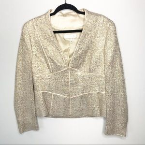 Escada Gold Metallic Cream Satin Trimmed Blazer